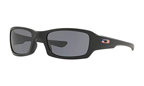 Oakley Men's Standard Issue Fives Squared Flag Collection Sunglasses,OS,Matte Black/Grey