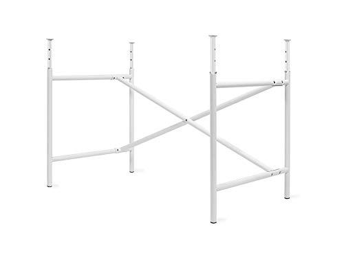Kindertischgestell E2, höhenverstellbares Tischgestell (52-72 x 60 x 105 cm) ohne Tischplatte, Unterbau für Kinderschreibtisch, weiß glänzend
