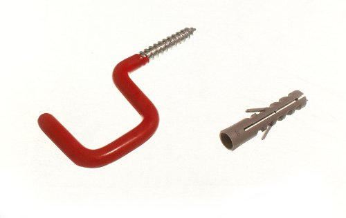 rouge crochet fixé au mur échelle à crochets outil utilitaire de stockage avec Rawl bouchon (pack de 2)