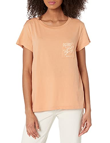 RVCA Women's Red Stitch Short Sleeve Graphic Tee Shirt, Meadow/Canyon Rose, X-Large