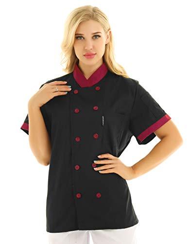 Freebily Unisexo Camisa de Cocineros Camareros Chef Uniforme Mandarin de Trabajo Cocina Hotel Restaurante Chaqueta Llaboral Profesional Mangas Cortas Doble Pecho