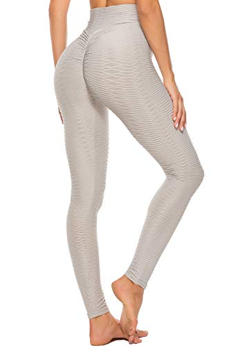 FITTOO Mallas Leggings Mujer Pantalones Deportivos oga Alta Cintura Elásticos Transpirables Gris S