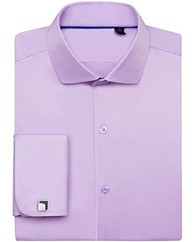 Siliteelon - Camisa de vestir para hombre con doble puño (gemelos incluidos) Morado morado claro 46 cm Cuello/ 86 cm- 89 cm Manga
