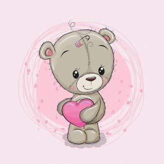 Herz Stoffe Österreich: 1 Sommersweat/French Terry Stoff Panel (40x50cm) Bär Bärchen auf rosa kleines Herz Kreis Punkte Einzelmotiv Ökotex