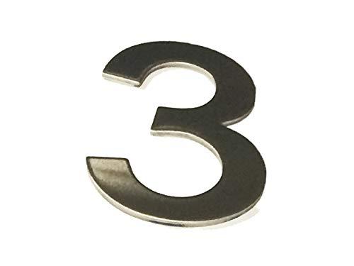 ASC Hausnummern aus gebürstetem Edelstahl zum Aufkleben auf 3M-Klebeband, 10 cm hoch, 1 bis 9999#(Keine)~3