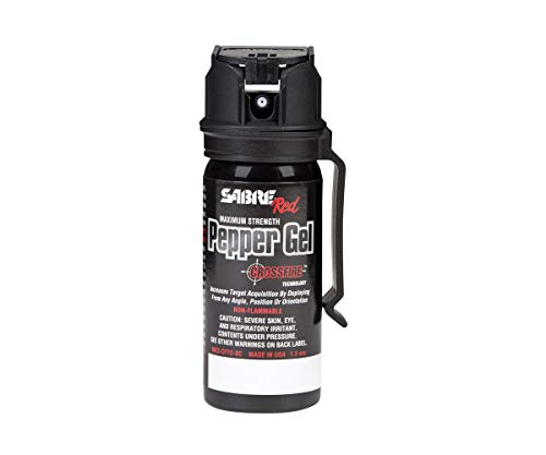 SABRE RED Pepper Gel - Police Strength with Flip Top for Safe - Fast Deployment – 20 Foot (6m) Range & 8 Full 1 Second Bursts - Ability to Deploy at Any Angle or Orientation Plus Belt Clip