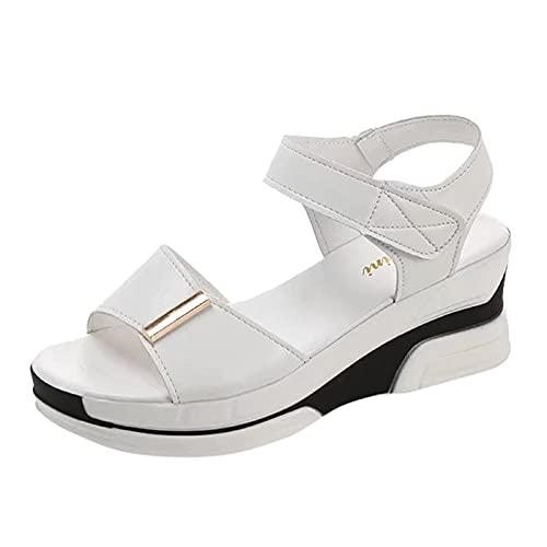Damen Pantoletten Bohemia Latschen Schlappen Wedge Sommerschuhe Women Sandalen Slipper Sommer Hausschuhe Zehentrenner Schuhe Shoes Open Toe Bootsportschuhe (Weiß, 39)