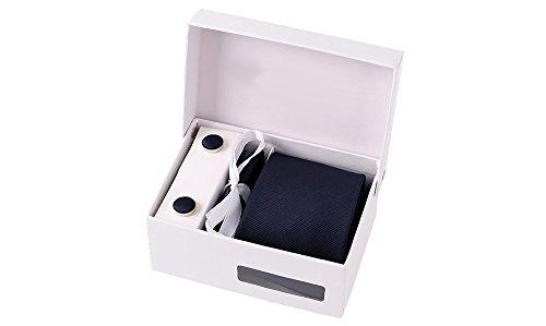 Coffret Rio - Cravate bleu marine intense, boutons de manchette, pince à cravate, pochette de costume
