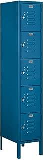 Salsbury Industries 65155BL-U Five Tier Box Style 12-Inch Wide 5-Feet High 15-Inch Deep Unassembled Standard Metal Locker, Blue