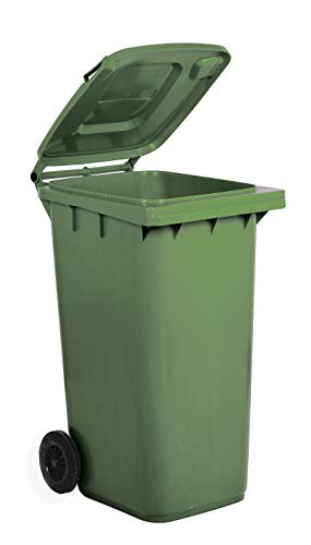Bidone carrellato per la raccolta differenziata rifiuti Mobil Plastic 240 Lt per uso esterno - verde (UNI EN 840)