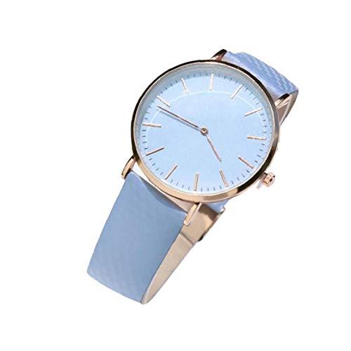 Mujer Varios cambio de color del reloj de cuarzo analógico reloj clásico con cuero del reloj de pulsera resistente del brazal de agua incorporado en la joyería de moda de la batería azul exquisito