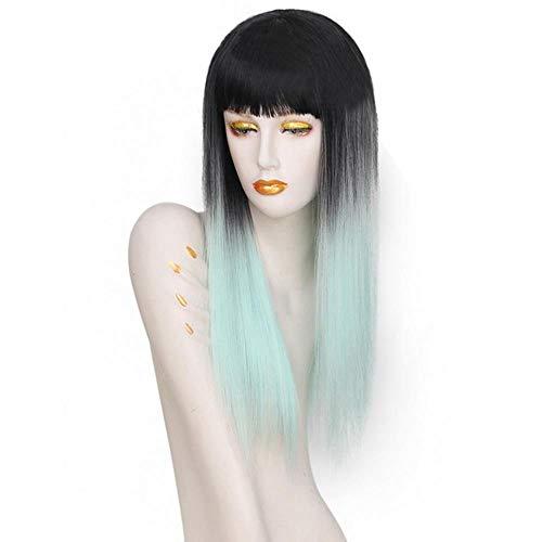 FHKGCD Longue Ligne Droite Noir Argent Gris Ombre Perruque Bangs pour Les Femmes Blanches Perruques Synthétiques Cheveux Naturels, Bleu, 24 Pouces