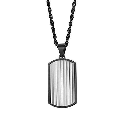 Collares Colgante Joyas Colgantes De Acero De Titanio Collares con Medalla Dominante Hombres-Black_with_65Cm_Chian