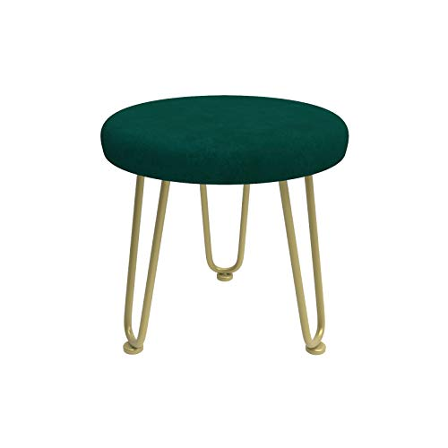 Polyjkl 12 in Small Ottoman, Soft Seating Foot Stool, Accent Stool, Living Room, Bedroom and Kids Room Chairs, Metal Iron Legs Stool (Green+Gold)