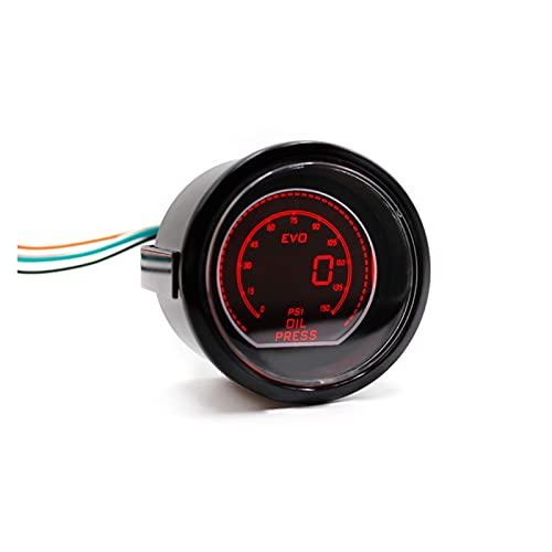 Story Medidor de Prensa de Aceite de 5 mm 2 Pulgadas de 2 Pulgadas EVO LCD Medidor de presión de Aceite LED Rojo/Azul 0-15 0 PSI con Sensor/Metro de Coche