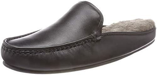 HAFLINGER Lederclog mit Flechtung, grau, Größe 44: Schuhe