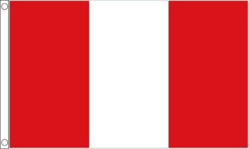 PÉROU SANS ÉCUSSON 5ft x 3ft (150cm x 90cm) 100 % polyester drapeau + 59mm Button Badge