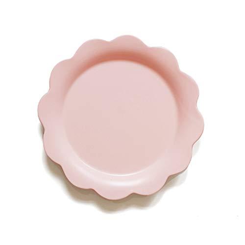 YUWANW Fleur Créative Assiette Plate En Céramique Plat Occidental Pâtes Steaks Steak Salade Bol Soupe Bol Petit Déjeuner Bol Plat À La Maison Plat, Plaque Plate Fleur Rose Clair