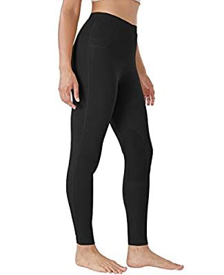 FitsT4 Kids Horse Riding Tights Performance Knee Patch Pull On Equestrian Schooling Riding Pants Black M by FitsT4 Sports