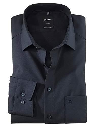 OLYMP Herren Oberhemd Langarm Luxor,Uni,modern fit,New Kent,Kobalt 08,43
