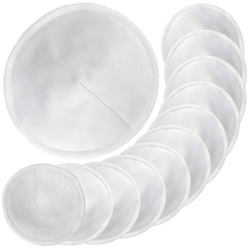 Pinowu Almohadillas de lactancia de bambú orgánico (12pcs), 11cm Súper Suaves y Absorbentes Hipoalergénico Discos de Lactancia, Ronda Cojines de Bra a Prueba de Fugas