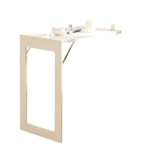 WYJW Opvouwbare ruimte wonder monteerbaar op de muur Opvouwbaar, converteerbare houten bureau, robuuste keuken, opklapbare tafels, met een gewicht tot 80 kg (kleur: wit, afmeting 75 cm, 75 cm)