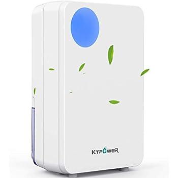 KTPOWER Electric Dehumidifier 2300 Cubic Feet  280 sq ft  800ml  27 oz  Quiet Small Mini Dehumidifiers for Home Portable Dehumidifier for High Humidity for Bathroom Bedroom RV Auto Shut-Off
