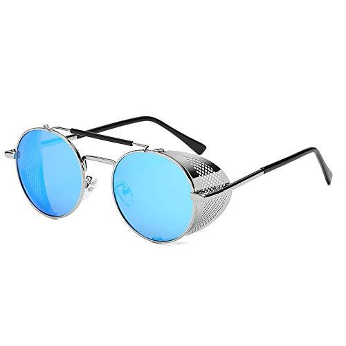 NJJX Gafas De Sol De Metal Redondas Retro Steampunk Hombres Mujeres Gafas Sombras Protección Uv 05
