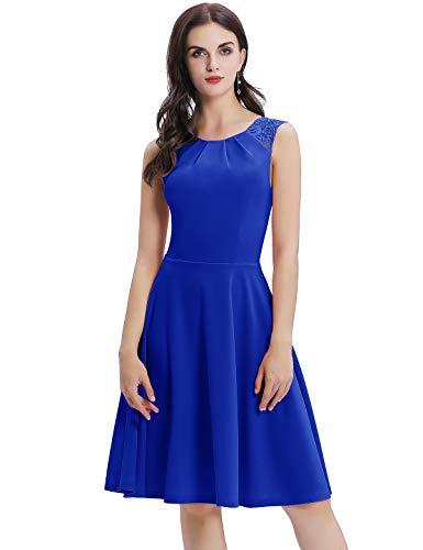 Bbonlinedress Kleid Damen Cocktailkleid Kleider im Sommer Spitzenkleid Rockabilly 50er Vintage Knielang Ärmellos Partykleid Royalblue XS