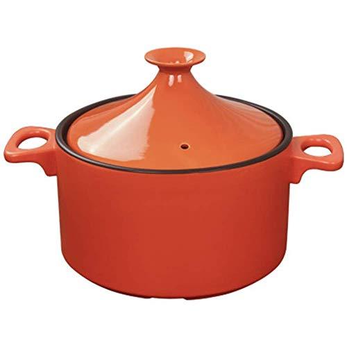 ZHHZ Olla de cerámica de Arcilla sin Plomo Hecha a Mano Original marroquí 23,5 cm Olla de Piedra refractaria de Gas doméstico con Tapa de cerámica, Naranja