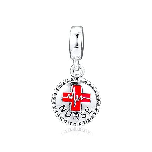 LIIHVYI Pandora Charms para Mujeres Cuentas Plata De Ley 925 Enfermera, Médico, Cuelga Compatible con Pulseras Europeos Collars