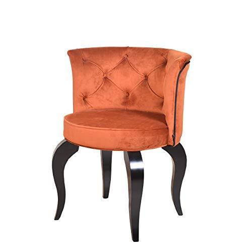 Petro Design Stuhl Luna Style Orange Samt Esszimmer Polsterstuhl Barock Schminktisch Schreibtisch Lounge Chesterfield
