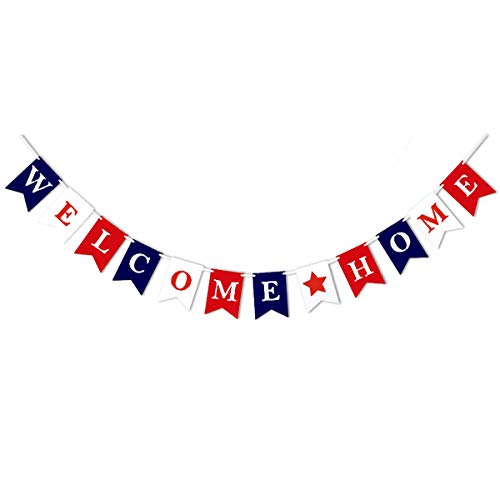 Welcome Home Banner, Premium Felt Bunting Vintage Home Decoration for Family Party banner (5.1X7.1inch)(Welcome Home Multicolor)