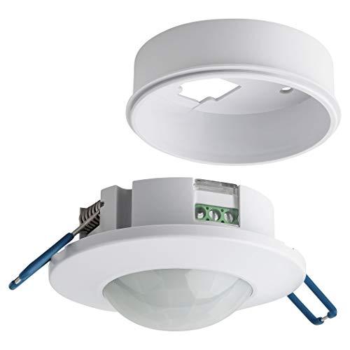 SEBSON Détecteur de Mouvement Intérieur, Montage Encastré et en Saillie au Plafond, programmable, Capteur Infrarouge, 8m / 360°, LED adapté, Max. 800W/ 400W