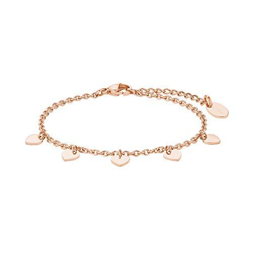 amor Armkette für Damen, Teenager aus Edelstahl IP Rose, Herz