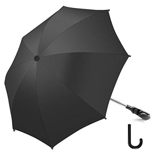 RIOGOO Kinderwagen Sonnenschirm Regenschirm Universal 50+ UV Sonnenschutzschirm für Babys und Kleinkinder mit Regenschirmgriff für Kinderwagen, Kinderwagen, Kinderwagen und Buggy-Schwarz