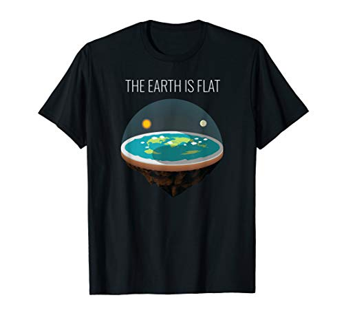 Flat Earth Society T-Shirt Flache Erde Karte Modell Globus