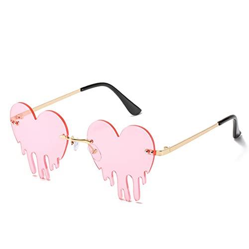 GAOTIAN Gafas de Sol Moda corazón sin llanta Gafas de Sol Mujeres 2020 Nuevas lágrimas Forma Steampunk Gafas de Sol únicas Vintage Eyewear UV400 Ocultos Feminino