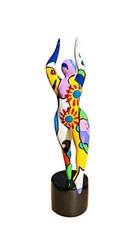 Laure TERRIER Statua di Donna Nana Ballerina, in Resina Multicolore. Altezza 29 Centimetri con la Base