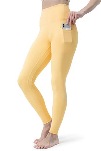 FETY Women's Workout Leggings with Pockets High Waist Full-Length Yoga Pants Tummy Control 4 Way Stretch Pants for Women… Light Orange