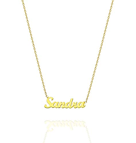 925 Karat Elegante Silberne Namenskette, Personalisierte Namenskette, Silberne Namenskette, Personalisierte Halskette, Weihnachtsgeschenk,18K Vergoldete Halskette (18, 18K Gold Vergoldet)