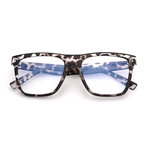 GLINDAR Gafas de bloqueo de luz azul para mujeres y hombres, gafas cuadradas de gran tamaño para ordenador, que reducen la fatiga ocular, tortuga transparente