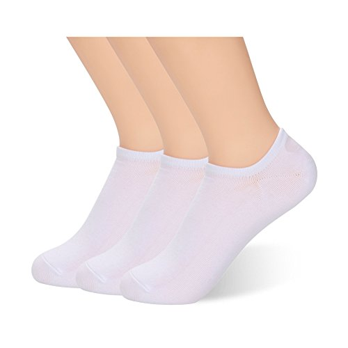 No Show Socks for Women Copper Infused Non-slip Moisture Absorption Low Cut Socks 3 Pack, White