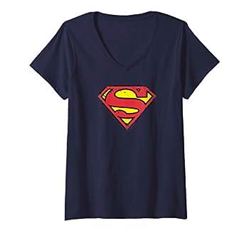 Womens Superman Distressed Shield V-Neck T-Shirt
