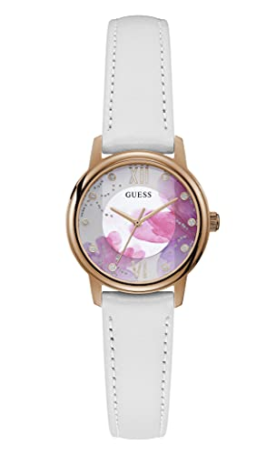 GUESS Women's Stainless Steel Quartz Watch with Leather Strap, White, 14 (Model: GW0241L1)