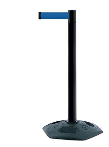 tensabarrier 886m-33-l5schwere Post mit Ein schwarz Gummi Boden Und Blau Gurtband mit einem Anti Tamper Klebeband Ende, 2,3m, Schwarz