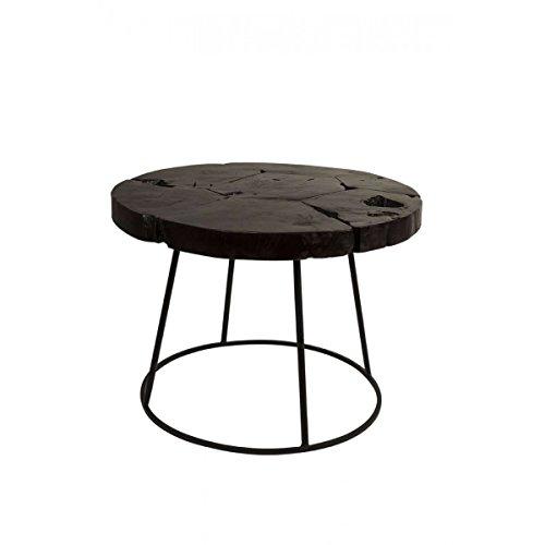Zuiver Kraton, Side Table, Tisch, Beistelltisch, 2300044, D:60 x höhe 43cm, 5 cm Dicke Teakholz Tischplatte, Jeder Kraton Side Table ist EIN Unikat !