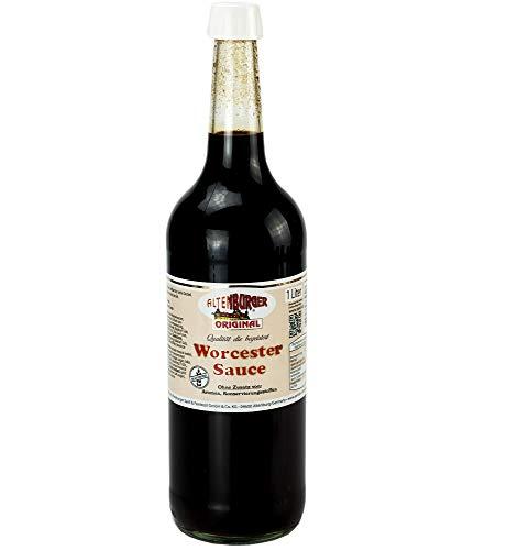 Altenburger Original Worcester Sauce, 1l (1000ml) in der Glasflasche, Worcestershire Sauce glutenfrei, laktosefrei, vegan, ohne Zusatz von Aromen