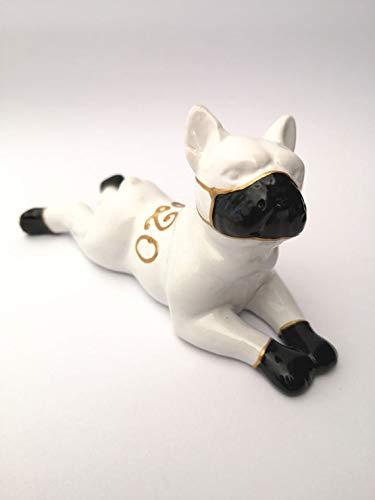 Laure TERRIER Statua Bulldog Francese, Modello Stay Home 2020' in Ceramica. Lunghezza 14 Centimetri. Decorazione Colori Disponibili