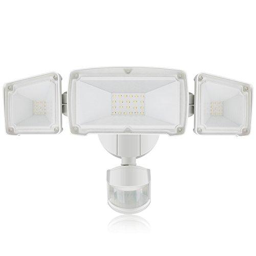 3800LM LED-Sicherheitslicht, 35W Outdoor-Licht mit Bewegungssensor, 5000K, 3 Flutlicht mit verstellbarem Kopf unter 2 Modi, gilt für Eingänge, Treppen, Hof und Garage